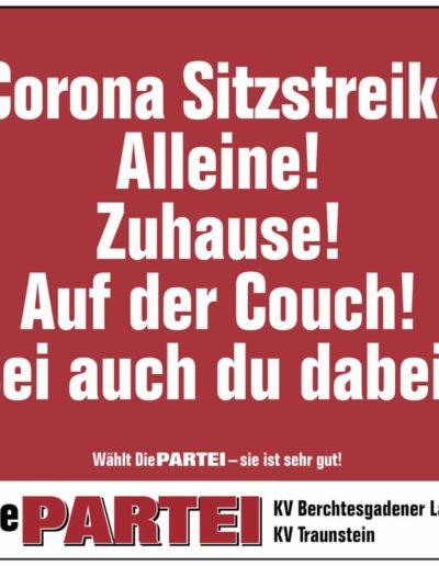 Poster mit Text: Corona Sitzstreik! Alleine! Zuhause! Auf der Couch! Sei auch du dabei!